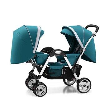 Твин Детские коляски для мальчиков и девочек могут сидеть откидывающейся двойной лицом к лицу с ударной складной тележкой