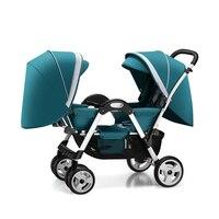 Twin xe đẩy em bé cho cậu bé và cô gái có thể ngồi ngả đôi mặt đối mặt với sốc gấp xe đẩy