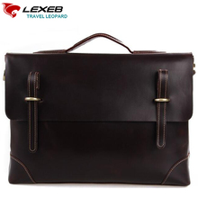LEXEB Brand Lawyer Briefcase Full Grain Natural Cow Leather Men Laptop Bag 15 Inches High Quality Office Bags Hasp Solid Coffee