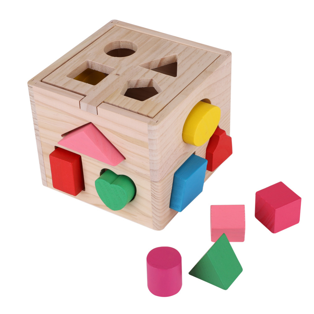 Early  Educational Wooden Shape Geometric Board Block Building Block Toy H