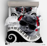 Duvet Cover cat with a sunglasses music simple wind 2/3pcs British Style Family student dormitory Quilt cover pillowcase