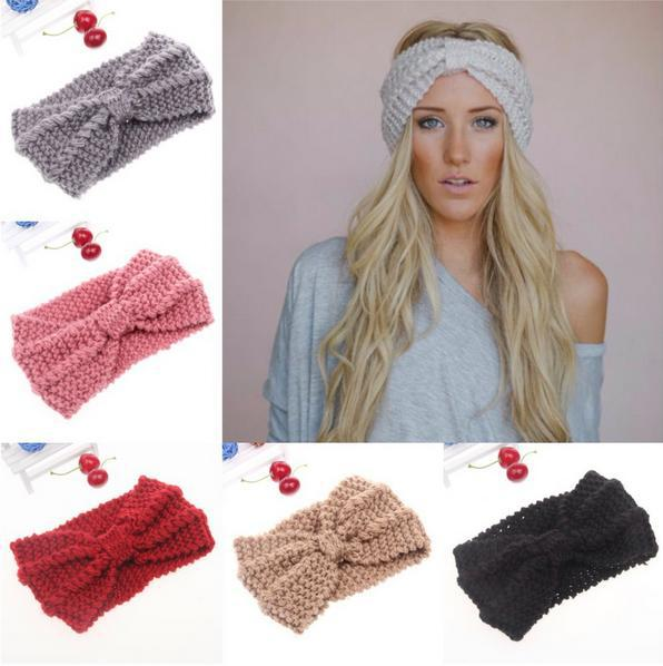 Cable Knot Knit Headband Twist Crochet Black Head Wrap Women Lady