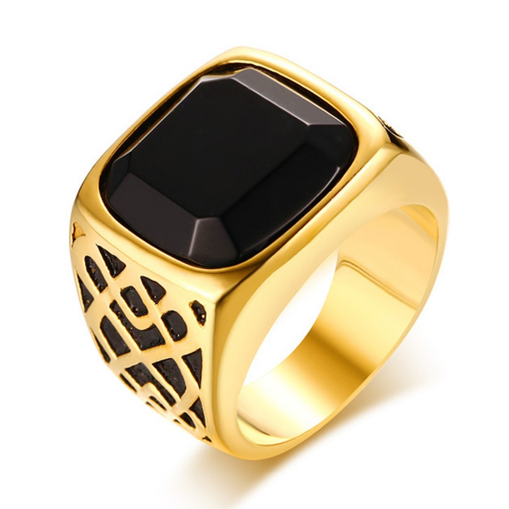 Punk Men's Male Jewelry Gold Black 316L  Stainless Steel Cool Biker Finger Rings Size 8/9/10/11/12 High Quality Christmas Gift