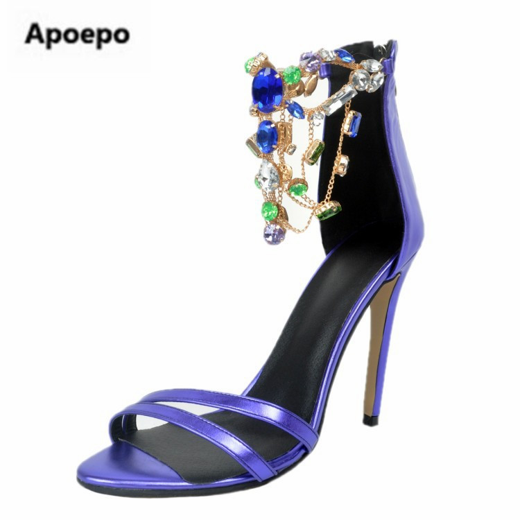 Apoepo 2017 Summer Gold Leather Crystal Embellished Sandals For Women Sexy Cut-out Ankle Strap High Heel Dress Shoes 2017 new arrival abnormal jeweled heels rhinestone crystal embellished high heel sandals ankle strap lock summer party shoes