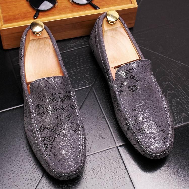 ERRFC New Arrival Fashion Men Loafer Shoes Grey Slip On Man Causal Shoes Python Pattern Designer