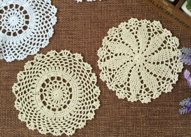 Kawaii Cotton DIY place table mat lace round pad crochet cup placemat  coaster doily home dinner