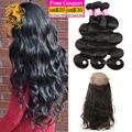 360 lace closure com onda do corpo malaio 3 pacotes de 100% Cabelo virgem Tecer Barato de Pacotes com Fechamento Frontal Humano cabelo