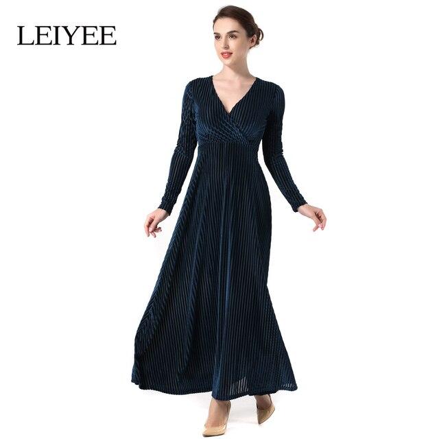 Conosciuto LEIYEE Velluto A Righe Vestito Donna Autunno Inverno Manica Lunga  XE37