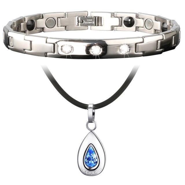 Health Jewelry Noproblem D009+D019 negative balance ion bracelet necklace combo choker