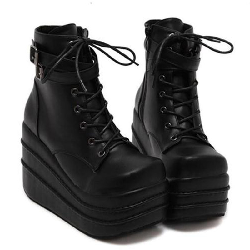 Womens Black Wedge Ankle Boots Promotion-Shop for Promotional ...