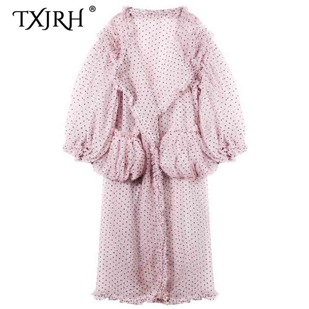 TXJRH bohême 3D point maille bois oreille volants chemise rose Blouse Kimono Cardigan voir à travers vacances longue lanterne manches Top 2 Style