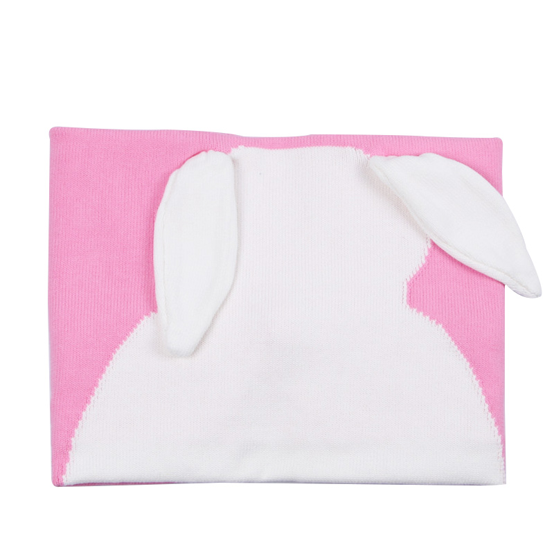 Rabbit Knit Baby Blanket Cotton Soft Kids Blanket Car Sofa Swaddle Kawaii Boys Girls Crochet Swaddle Spring Autumn Baby Bedding
