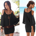 2016 Summer Women Off Shoulder Batwing Sleeve Backless Casual Loose Beach Dress Sexy Club Party Mini Dress Vestidos CL3075