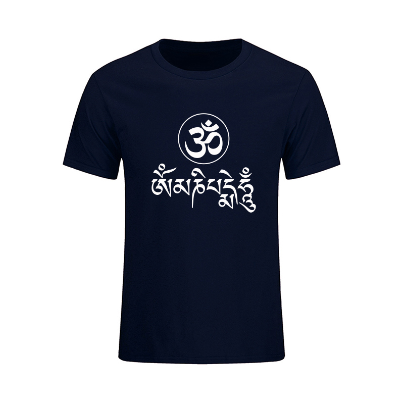 Summer New Fashion JN BUDDHISM OM MANI PADME HUM T Shirt Men Casual Short Sleeve O-Neck Tops Tees Large Size Dress Brand Clothes