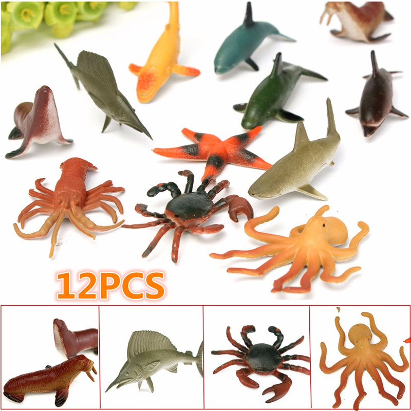 12PCS/Set 4.5-8cm Plastic Marine Animal Figures Ocean Creatures Sea Life Shark Whale Crab Kids Toy easyway sea life gray shark great white shark simulation animal model action figures toys educational collection gift for kids
