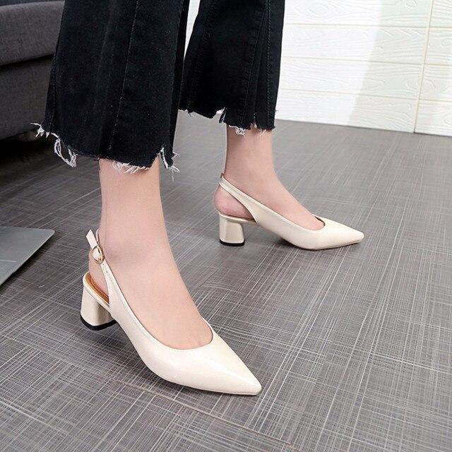 7900a39b8 Novo Estilo Bombas Senhoras escritório dedo apontado Boca Rasa de salto  Grosso sapatos sapatos vestido de