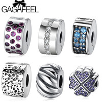 GAGAFEEL Solid 925 Sterling Silver Clip Charm Beads Fit Pandora Original Bracelet Bangle Lucky Clover Stopper