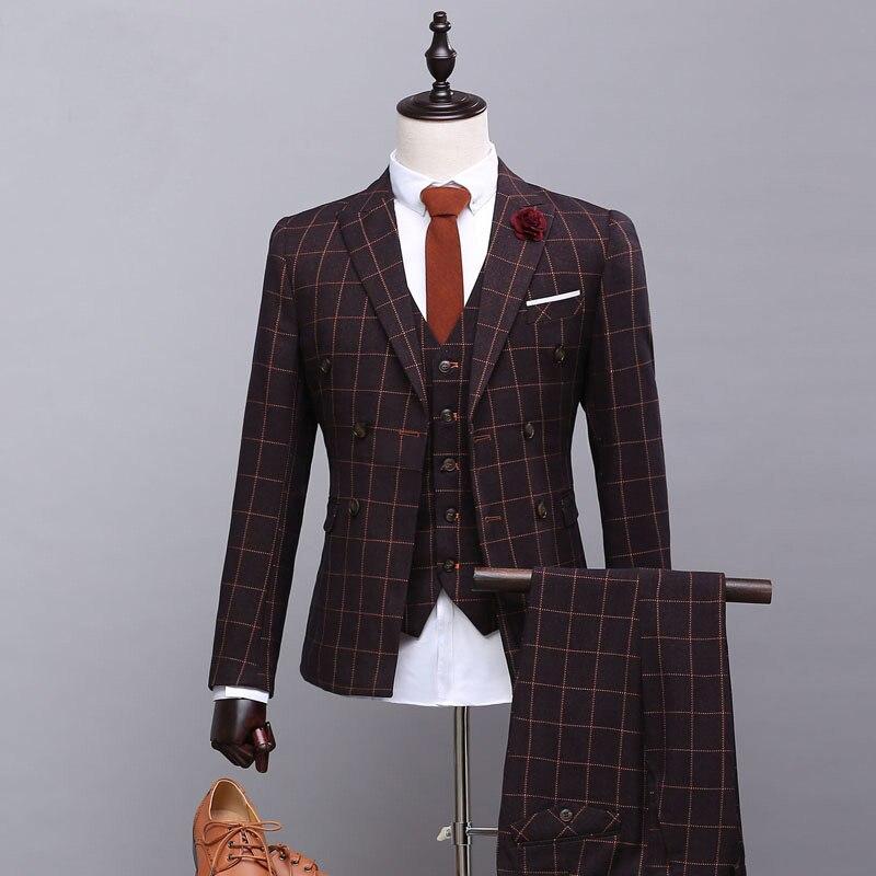 Custom High Quality Men Suits Slim Fit Brand Lattice Men's Suit Urban Fashion Autumn Blazer Wedding Groom Prom Plus Size S