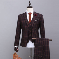 Custom High Quality Men Suits Slim Fit Brand Lattice Men's Suit Urban Fashion Autumn Blazer Wedding Groom Prom Plus Size S
