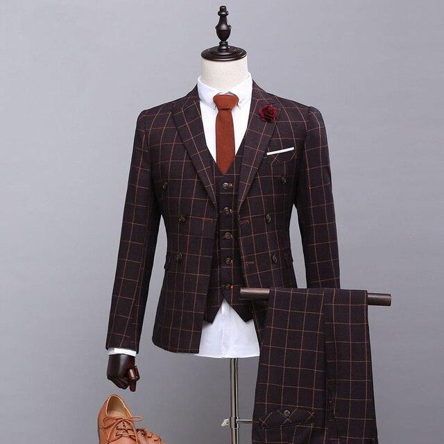 Personalizado de Alta Qualidade Dos Homens Ternos Slim Fit Marca Malha Terno Urbano Moda Outono Blazer dos homens Do Casamento Do Noivo Prom Além tamanho