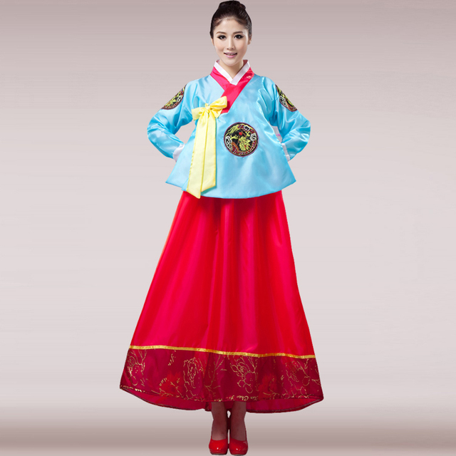 Blue Hot New Korea Traditional Hanbok Costume Korean Dress Clical Dance Costumes For Women