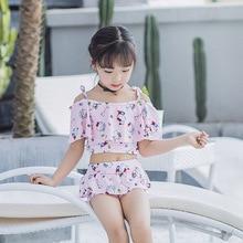 4-8years Children Swimwear Girls Swimsuit Kids Girls Beach wear Bathing suit Girls Korean style  Bikini set Biquini Infantil закрытый купальник для девочек brand new with tag biquini infantil biquinis infantil q52052