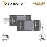 Новый OTG USB 3.0 для iPhone 7 карту флэш-памяти с интерфейсом USB для Ipad Mini Флеш накопитель 8 ГБ 16 ГБ 64 ГБ 128 ГБ флешки 32 ГБ memoria Cel интерфейсом USB