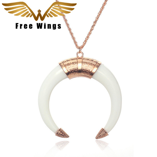 New Fashion Wholesale National Restoring Ancient Ways Is Ivory Crescent Statement Choker Necklaces Women Jewelry YX004 ABC