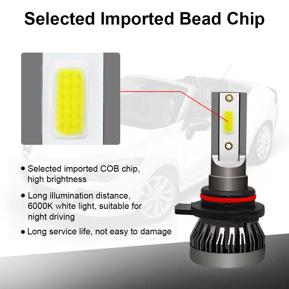 2PCS Car Headlight Mini Lamp 8000LM H7 LED Bulbs H1 LED H8 H11 Headlamps Kit 9005 HB3 9006 HB4 6000k Fog Light 12V LED Lamp 36W
