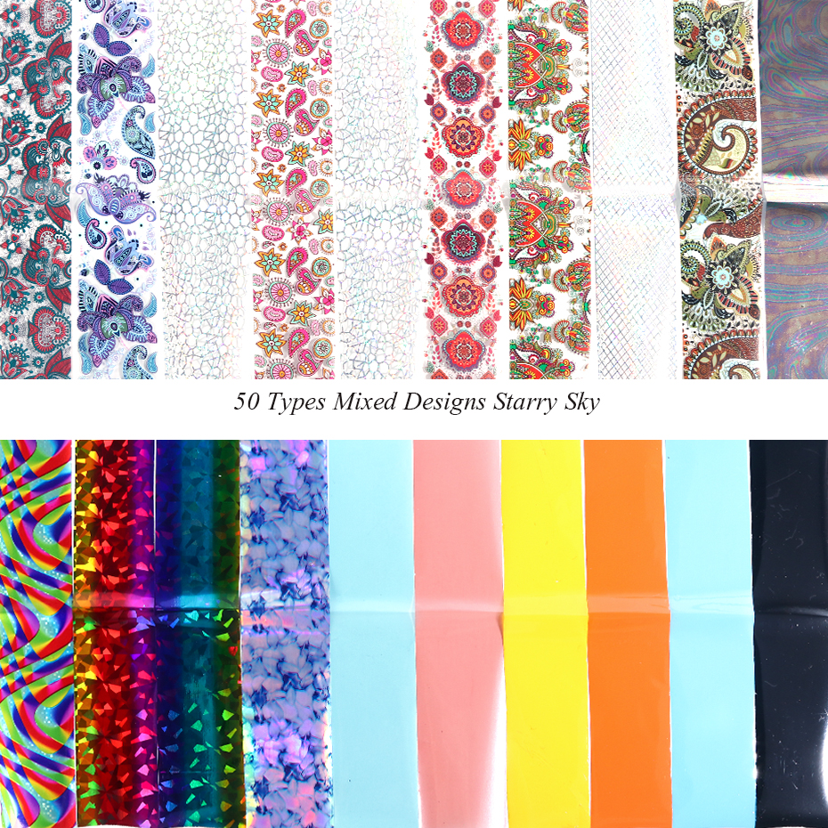 Image 3 - 50Types Mixed Design Starry Sky Nail Foil Set Flower Lace Transfer Sliders Paper Adhesive Decals DIY Nail Art Decorations LE921-in Stickers & Decals from Beauty & Health