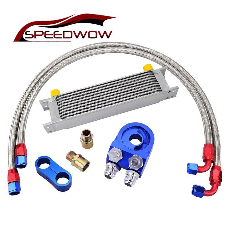 SPEEDWOW 10ROW 10AN Transmission Racing Oil Cooler+Oil Filter Cooler Sandwich Adapter+AN10 Swivel Fuel Hose Fitting Kit Silver