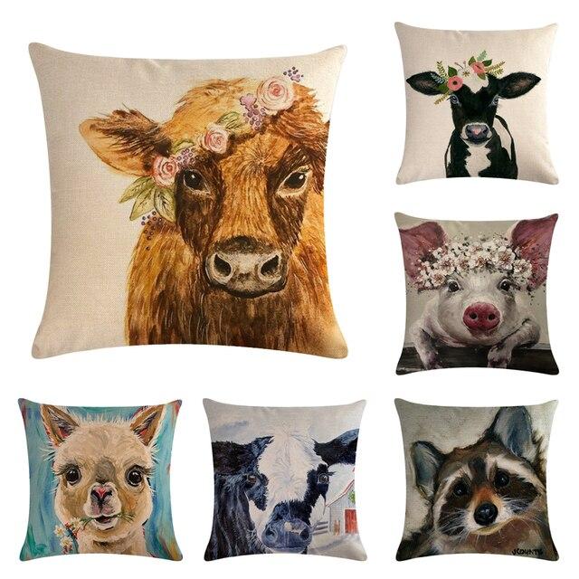 45 cm * 45 cm paiting gli animali della fattoria di lino/cotone cuscino di tiro