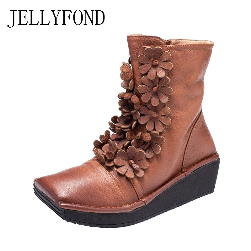 JELLYFOND 2018 Autumn Ankle Boots Women Genuine Leather Handmade Flower Platform Wedge Boots Handmade Lady Shoes Big Size Botas new autumn winter thick heel boots genuine leather ankle shoes vintage platform shoes handmade women boots lady plus size 35 43