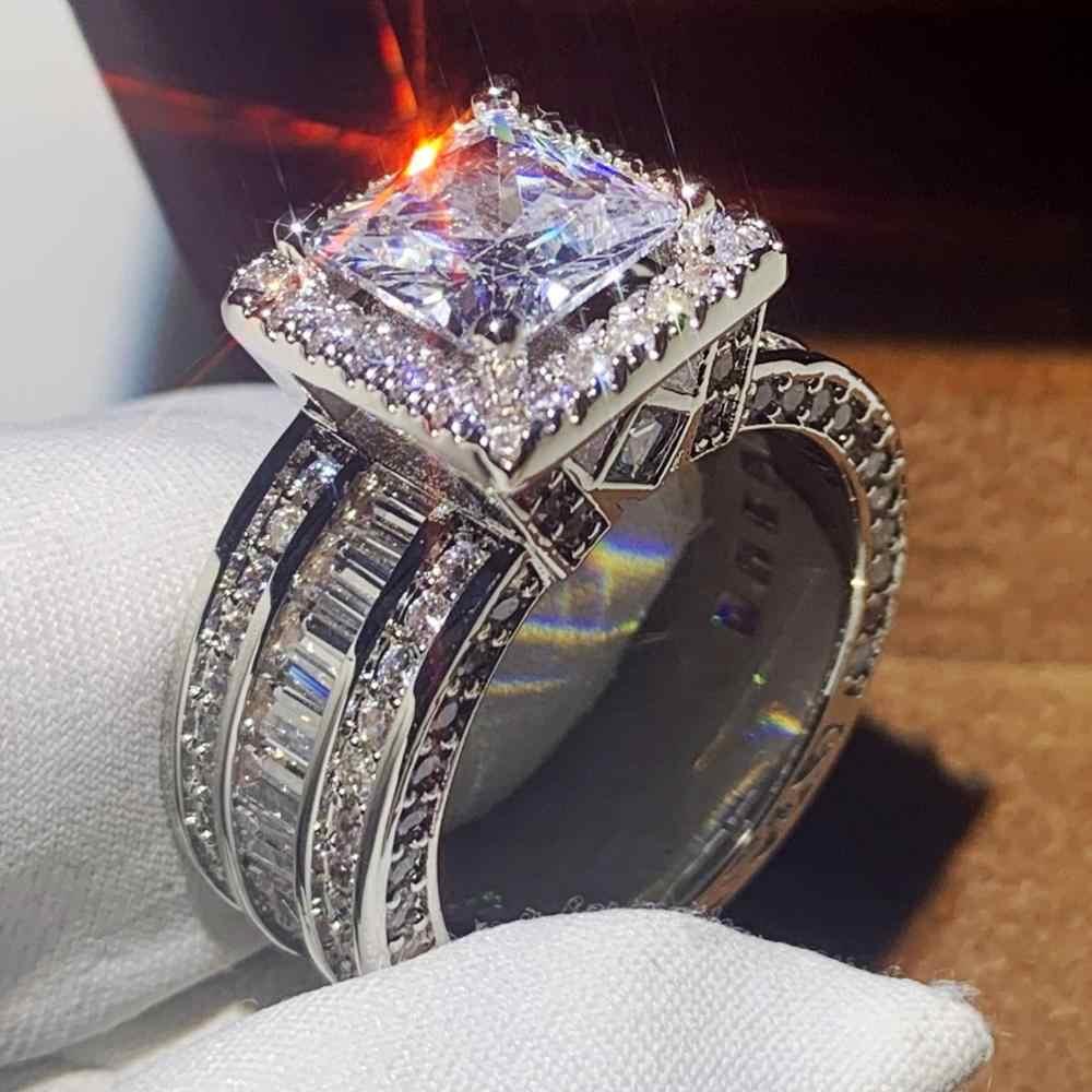 מכירה לוהטת ייחודי יוקרה תכשיטי 925 כסף סטרלינג & זהב למלא נסיכה לחתוך גדול 5A CZ המפלגה הבטחה נשים נישואים טבעת מתנה