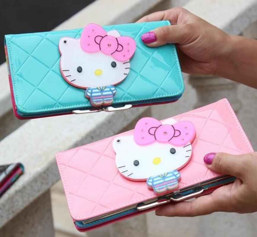 Hello kitty long famous brand designer purse luxury magic mirror female wallet women leather wallets for women carteira feminina