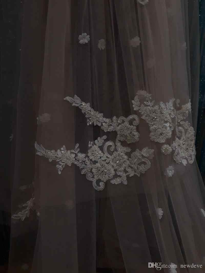 2019 Свадебные вуали Кружевная аппликация две свадебная фата 3D Цветы Свадебные аксессуары для волос 3 метра головные уборы на заказ