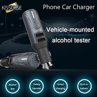 KISSCASE Portable Dual USB Car Charger For iPhone Xiaomi Fast Charging Charger For Samsung Huawei Alcohol Tester Car USB Charger
