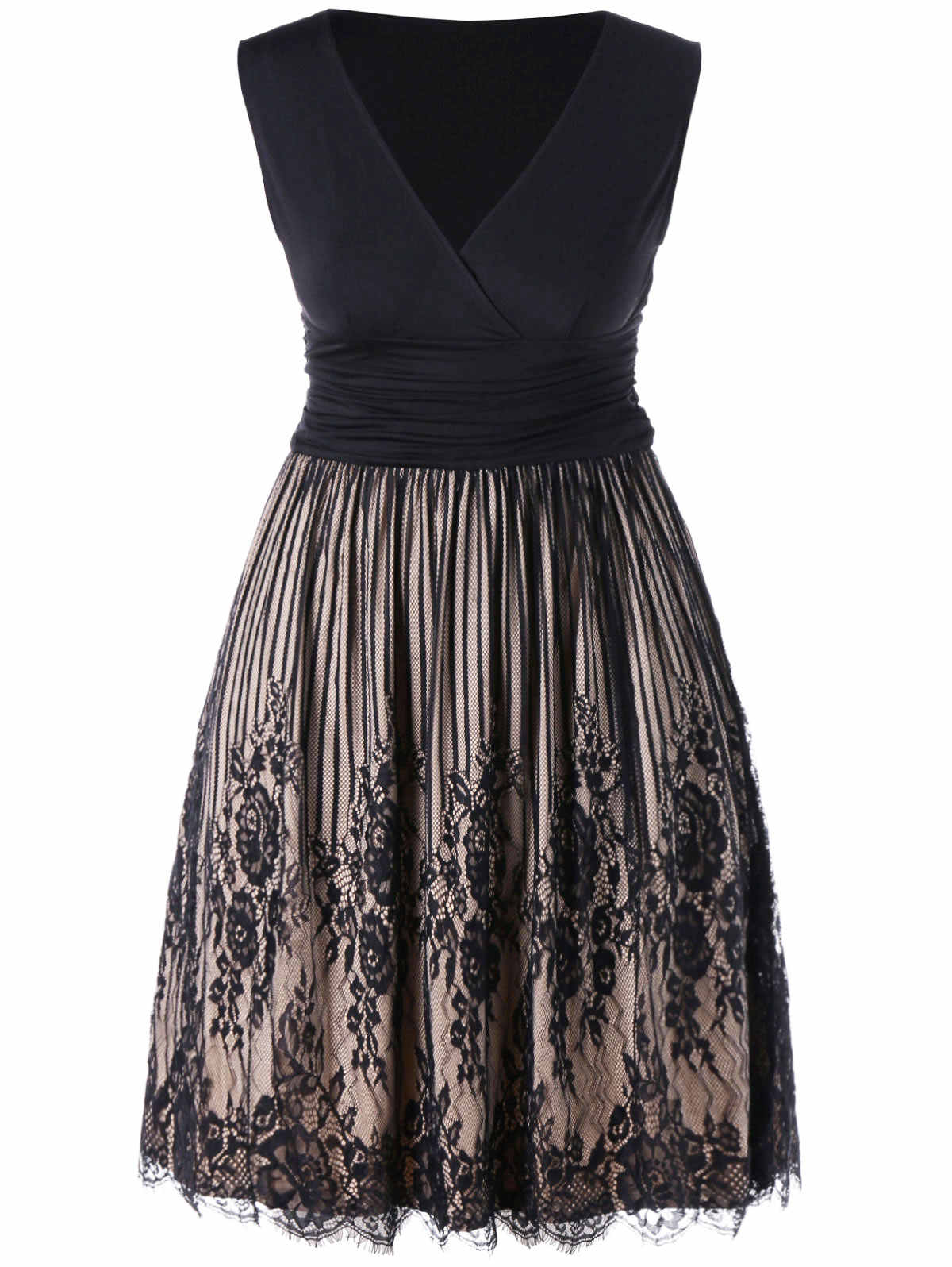 2fef7423c69 Gamiss без рукавов с v-образным вырезом плюс Размеры Surplice Lace Панель женское  платье Ruched
