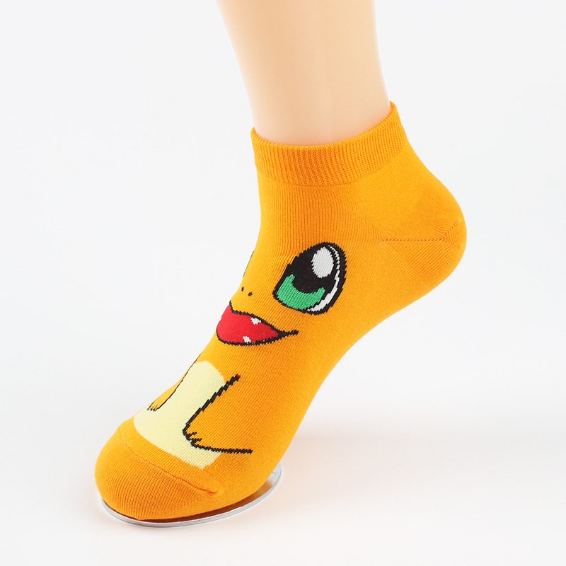Anime Cotton Pokemon Go Socks Charmander Jacquard Sox Cartoon Novelty Funny Sokken For Men and Women Short Ankle Meias Sock