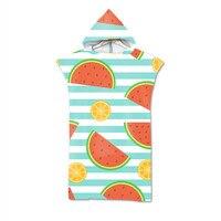 Fruit Printed Microfiber Wetsuit Changing Robe Towel Poncho Quick Dry Hooded Towels for Swimming Beach Pool Surf Beachwear Cloak