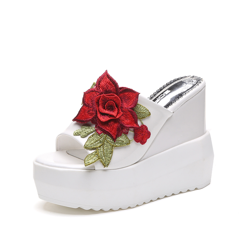 White Rose Shoes Women Sandals Summer Fashion Leather Wedges Woman Open Toe Beach Black