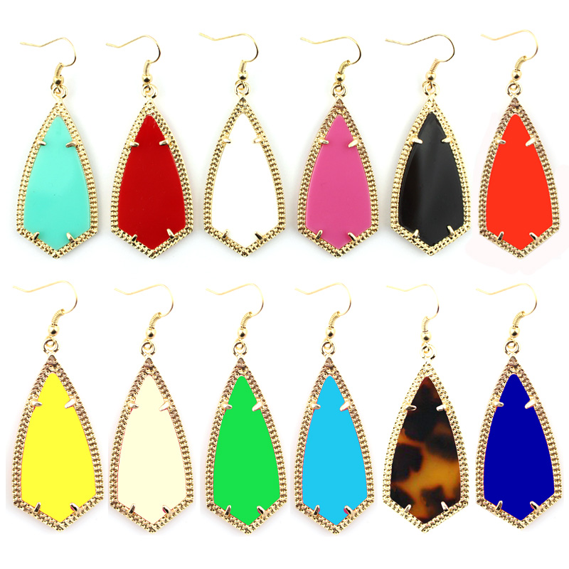 E2399 Gold Kite Inspired Design Gold Frame Rhombus Earrings American Fashion Southern Style Women Boutique Jewelry Wholesale
