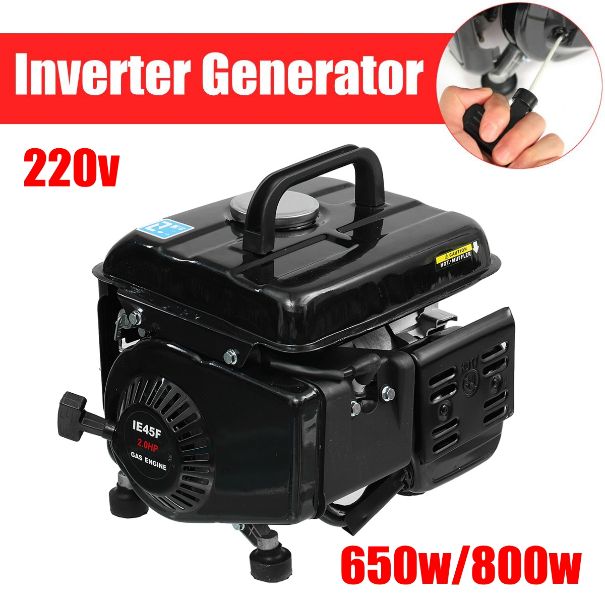 Portable 220V Generator Gas Gasoline Powered Electric Camping RV Quiet Inverter 650W 800W Peak-