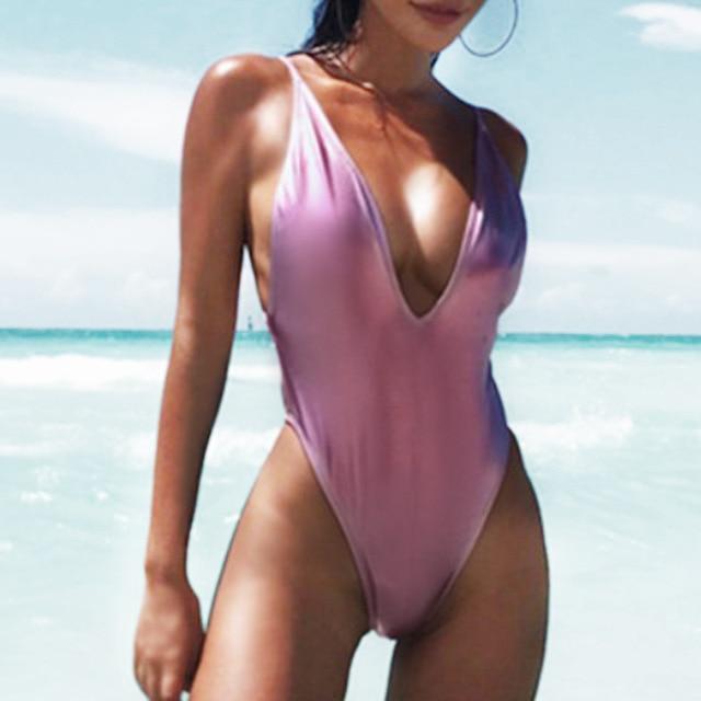 c701896ac9547 Gold Metallic One Piece Swimsuit Womens Push Up Monokini Deep V Neck  Bathing Suit 2018 Sexy Swimwear Backless Solid