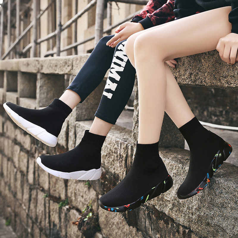 MWY elastik rahat çorap ayakkabı versiyonu kalın Sneakers ayakkabı açık ayakkabı kadın Flats kadın loafer'lar Chaussure Femme