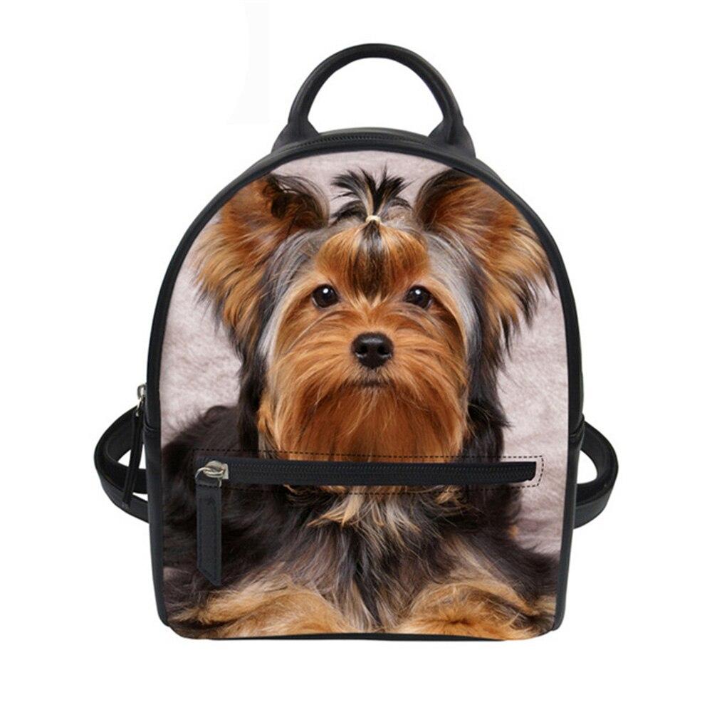Women Backpack Mini Rucksack for Teen Girls Yorkshire Husky Pomeranian Print School Bagpack Casual Pu Leather Backpack