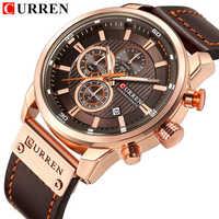 Brand Luxury Men Sport Fashion Watch CURREN Leather Quartz Casual Men Analog Watches Date Business Male Chronograph Clock