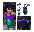 2017 Newest Girls Mermaid Swimsuit Baby Kids Toddler Bikini Geen Purple Suit With Headband Child Bathing Suits Toddler Swimwear