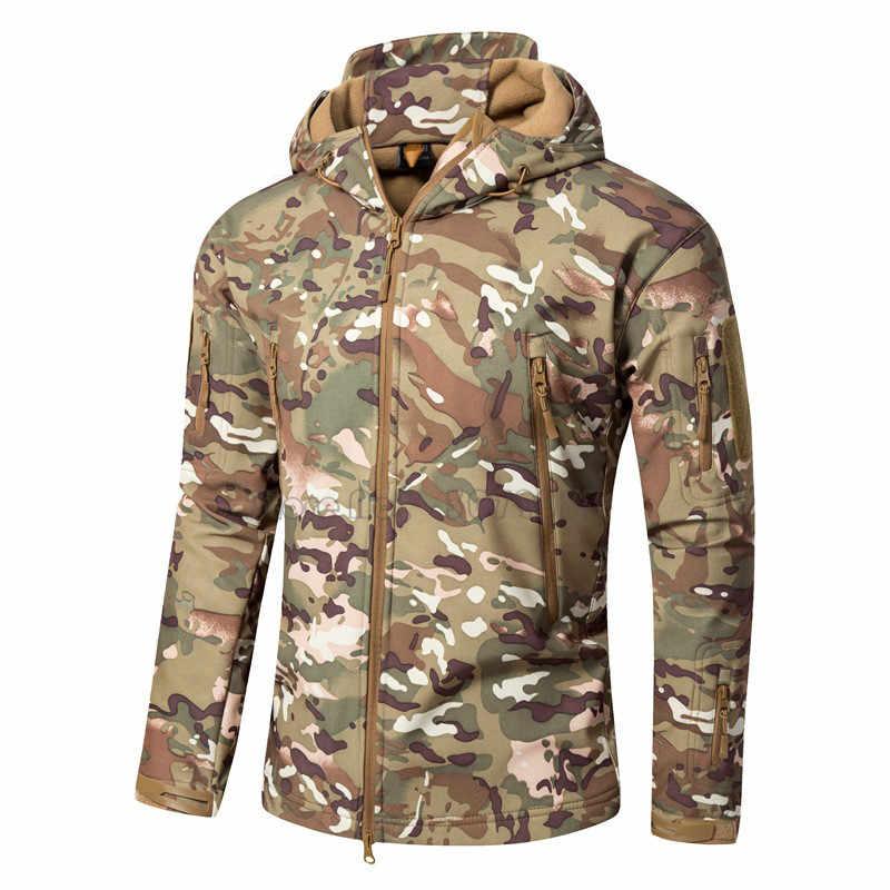 メンズサメ皮ソフトシェル屋外フード付きシェルジャケットタクティカル防水衣装狩猟キャンプコート