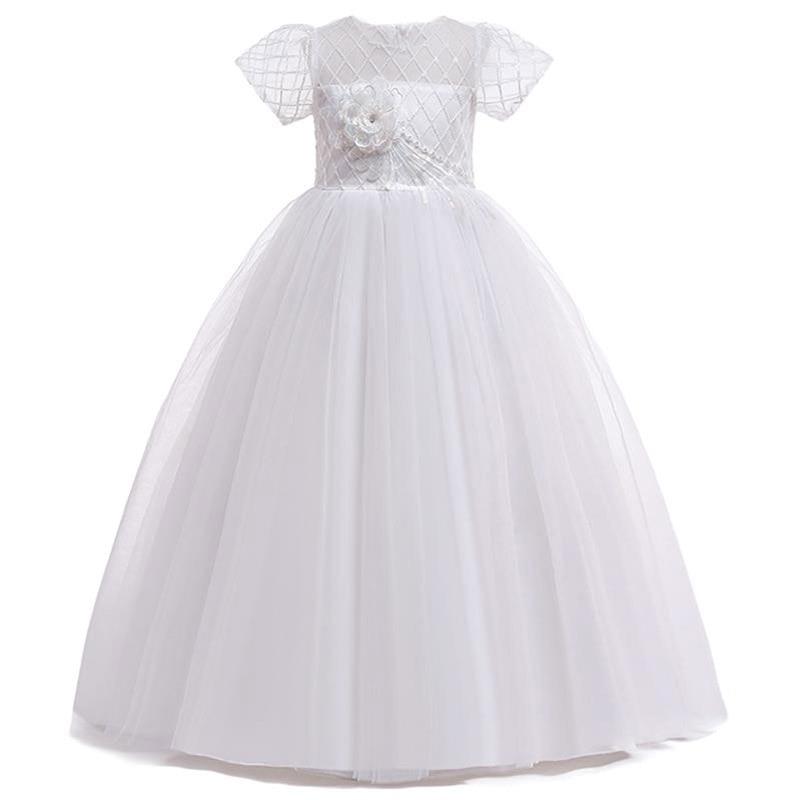 Retail Lace Tassel Girls Birthday Flower Girls Dress With Ribbon Belt Elegant Princess Boutiques Evening Prom Dress L5021